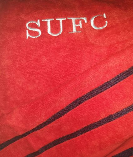 Personalised embroidered sufc red  beach towel (1)